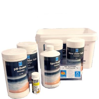 Startpakke for motstrømsbasseng med alle kjemikalier du trenger fra Quality Spas innhold