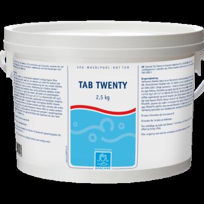Tab-Twenty, Standspa-Tabs, 1000-3000L (Klortabletter-sakteoppløslige, for svømmebasseng og massasjeb